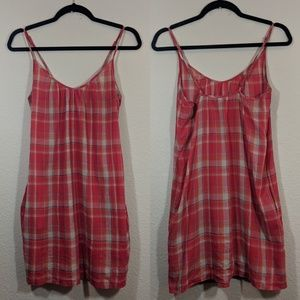 James Perse Plaid Slip Dress With Pockets